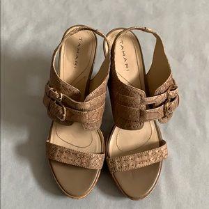 Tan Tahari Strappy Leather Snakeskin Heels